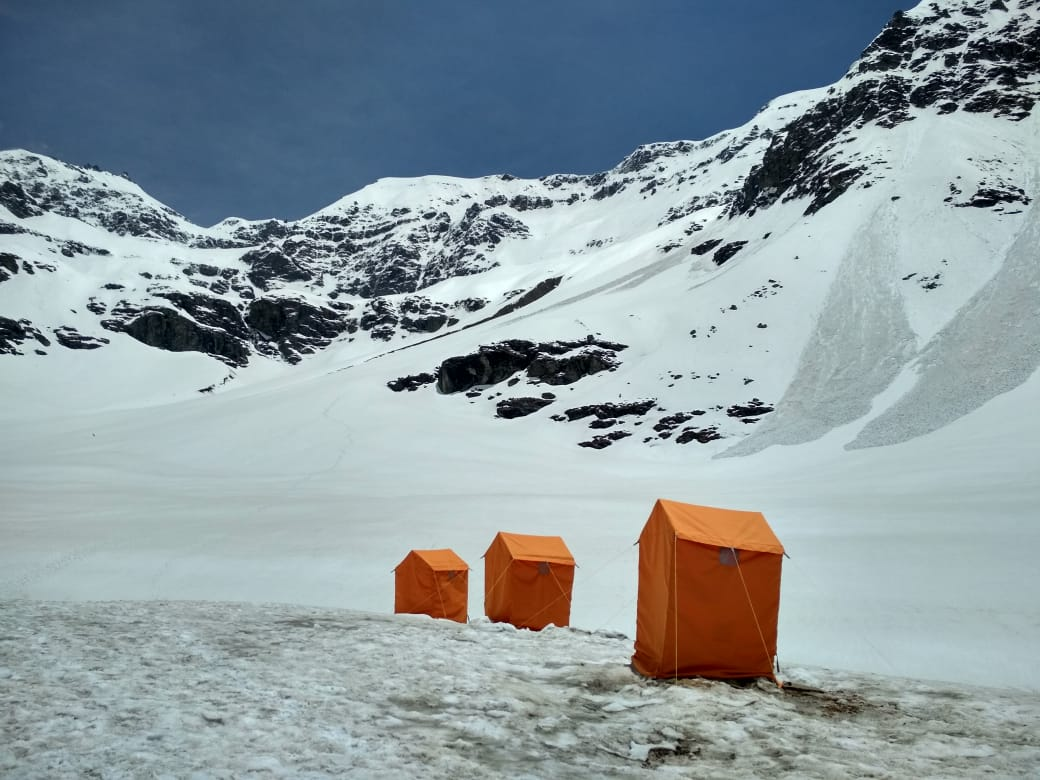 Dry toilet tents build by Indiahikes.
